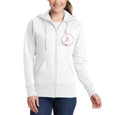Full-Zip Hoodie with Floral Wreath Monogram