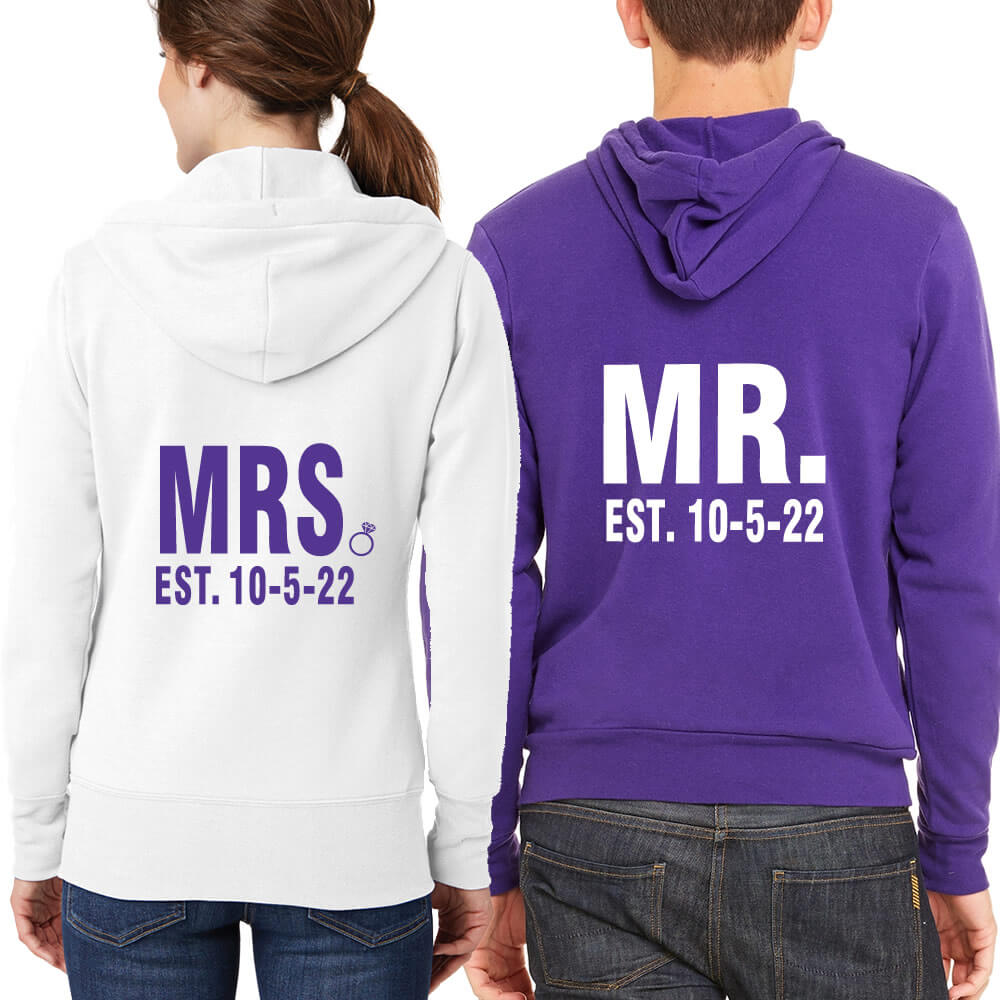 Full-Zip Mr. & Mrs. Hoodie Set with Date