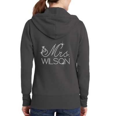 "Personalized ""Mrs."" Full-Zip Rhinestone Bride Hoodie with Date"