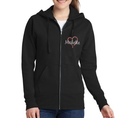 Full-Zip Bridal Party Hoodie with Name and Heart