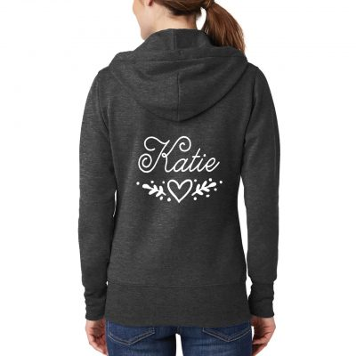 Full-Zip Hoodie with Name & Heart Laurel