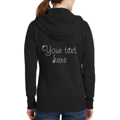 "Rhinestone ""Just Engaged"" Full-Zip Bride Hoodie"