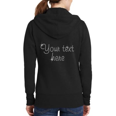 "Personalized ""Future Mrs."" Full-Zip Rhinestone Bride Hoodie"