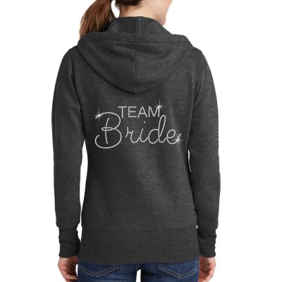 "Rhinestone ""Team Bride"" Full-Zip Hoodie"
