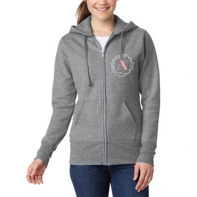 Full-Zip Hoodie with Wreath Monogram